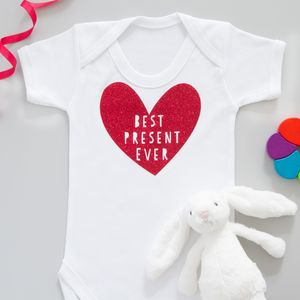 Best Present Ever Red Glitter Baby Grow Or T Shirt