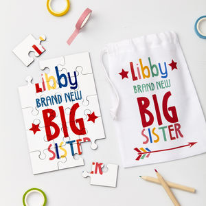 Child's Personalised Big Brother Or Sister Jigsaw - new baby gifts
