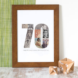 Personalised Birthday Photo Print 60th, 70th, 80th - typography