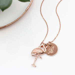 Personalised 18ct Rose Gold Flamingo Necklace