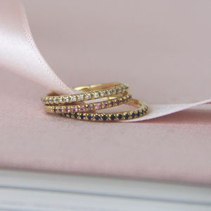 Gold And Gemstone Half Eternity Ring - fine jewellery