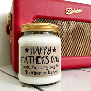Personalised Happy Fathers Day Scented Soy Candle