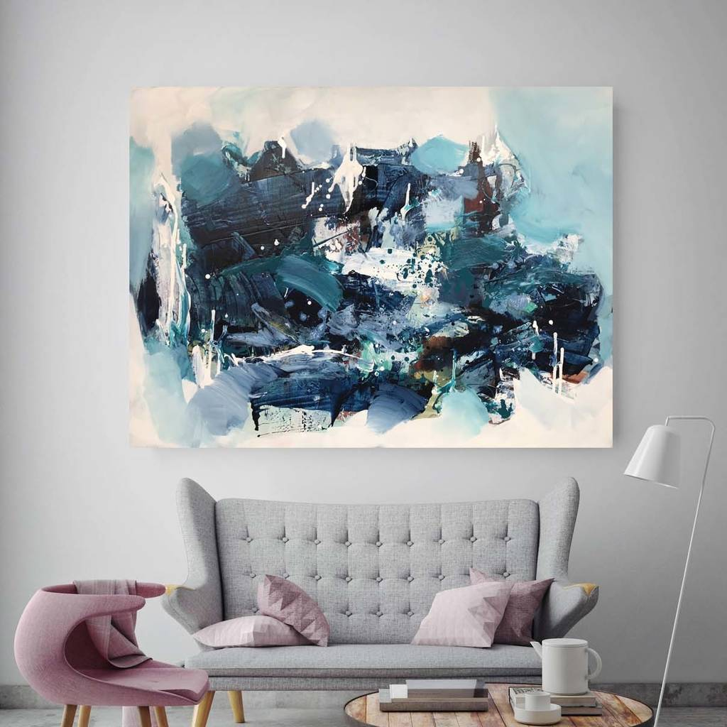 Large Original Blue Abstract Wall Art Painting Canvas
