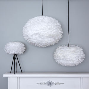 White Goose Feather Lampshade - lighting