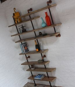 Barney Scaffold Shelves With Pipe And Copper Fittings - bookcases
