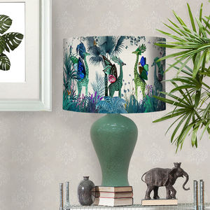 Tropical Giraffes Lampshade Blue Giraffes - bedroom