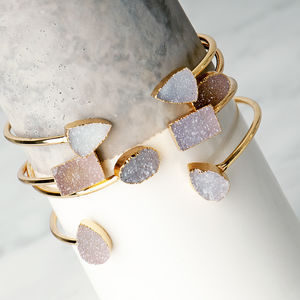 Natural Druzy Agate Open Ended Cuff Bangle - stack and style