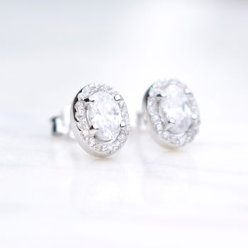 Oval Halo Cubic Zirconia Stud Earrings