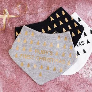 Personalised First Christmas Geometric Baby Bib