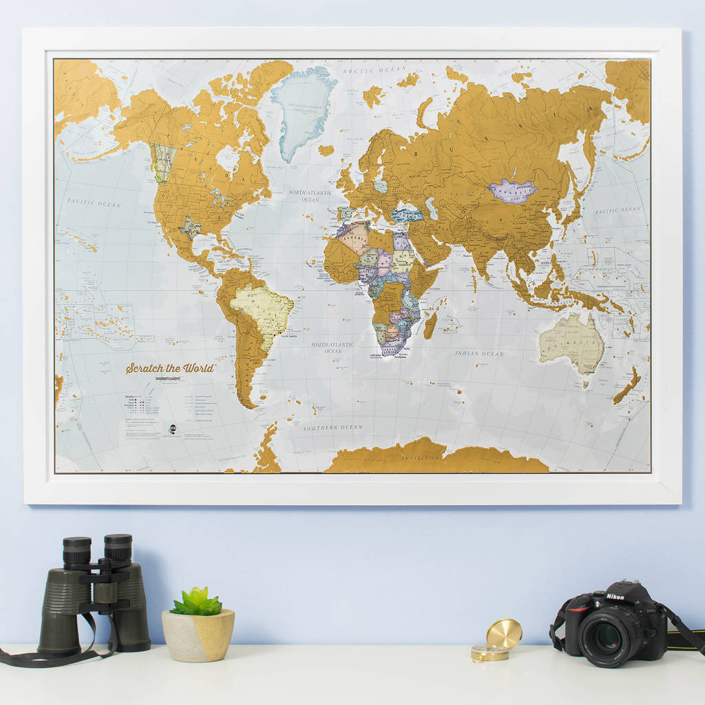 Scratch the World map print with coin