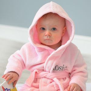 Personalised Soft Baby/Child's Dressing Gown In Pink - clothing