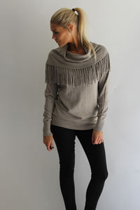 Cashmere Fringe Jumper - women's fashion