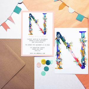 Personalised Painted Floral Letter Party Invitations