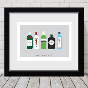 'Let The Evening Be Gin' Personalised Print