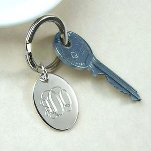 Monogram Silver Keyring - personalised gifts for her