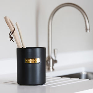 Luxury Stoneware And Brass Utensil Holder - kitchen accessories
