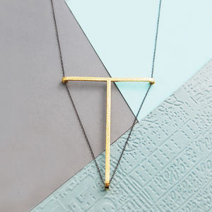 Gold And Black Geometric T Bar Silver Necklace - necklaces & pendants