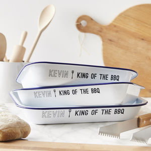 Enamel Personalised Bbq Baking Tray - new in home