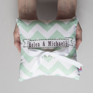 Wedding Ring Cushion Chevron Design - wedding fashion