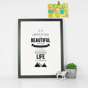 Typography Inspirational Art Print Life - family & home