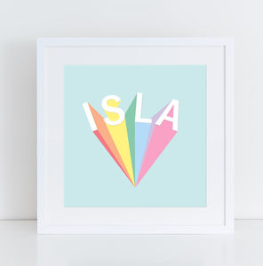 Personalised Rainbow Name Typography Print