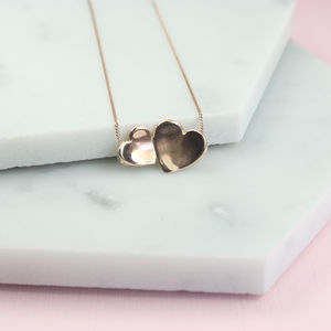 Handmade Solid Gold Concave Hearts Necklace - gifts for her