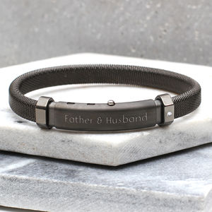Men's Personalised Diamond Set Ruthenium Bracelet