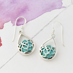 Lotus Flower Turquoise Earrings - earrings