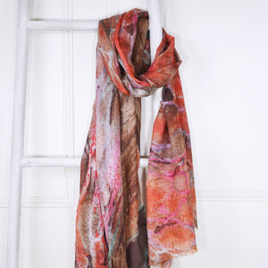 Cinnabar Red And Pink Marble Print Wool Silk Scarf