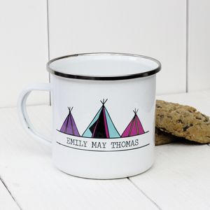 Personalised Three Tipi Tents Enamel Mug