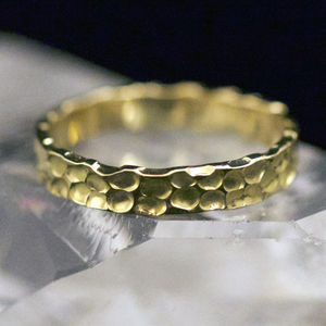 Welsh And Recycled Gold Hammered 4mm Wedding Ring - wedding rings