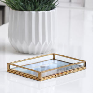 Personalised Glass Rectangular Photo Tray - storage & organisers