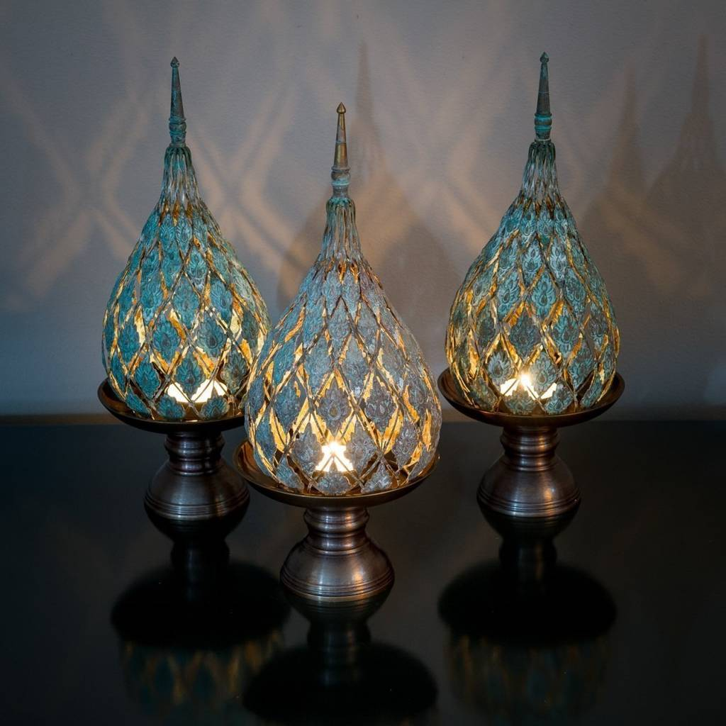 Bronze Filigree Spire Tea Light Holder