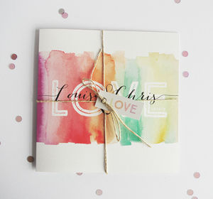 Love Rainbow Watercolour Wedding Invitation - reply & rsvp cards