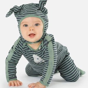 Striped Bear Motif Jumpsuit - clothing