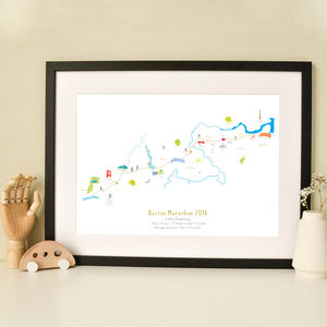 Boston Marathon Route Map Personalised Print - personalised