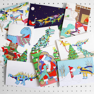 Mix'n'match Dinosaur Christmas Greeting Card Pack - cards