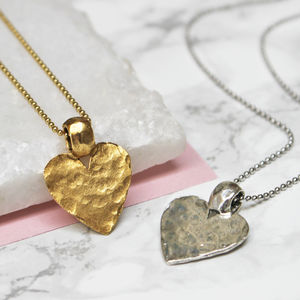 Hammered Heart Pendant - flower girl jewellery