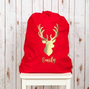 Personalised Christmas Santa Sack With Gold Stag - stockings & sacks