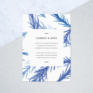 Hand Painted Leaf Wedding Invites - winter styling