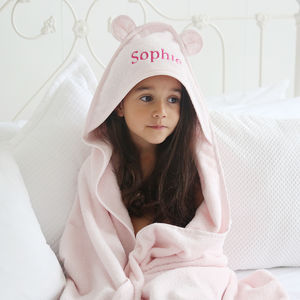 Large Hooded Bath Towel Pink