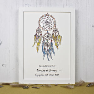 Personalised Engagement Dream Catcher Print