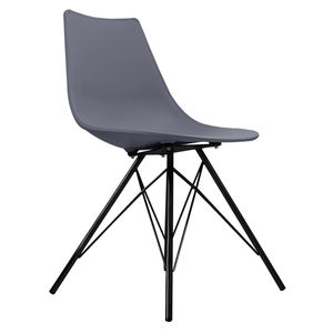 Oslo Chair Dark Grey With Black Metal Legs - dining chairs