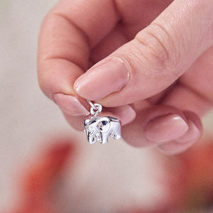 Elephant Solid Silver Charm Pendant
