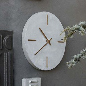Concrete And Brass Clock