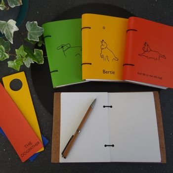 Personalised Dog Engraved Leather Journal And Bookmark