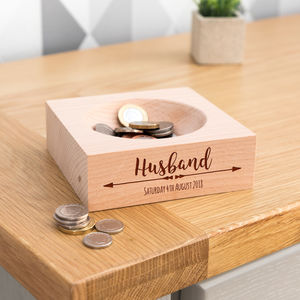 Personalised Husband Wooden Coin Tray