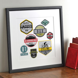 Vintage Sports Badges Personalised Print - gifts by category