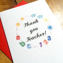 Thank You Teacher Colourful Card