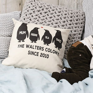Square Penguin Family Cushion - gifts for her